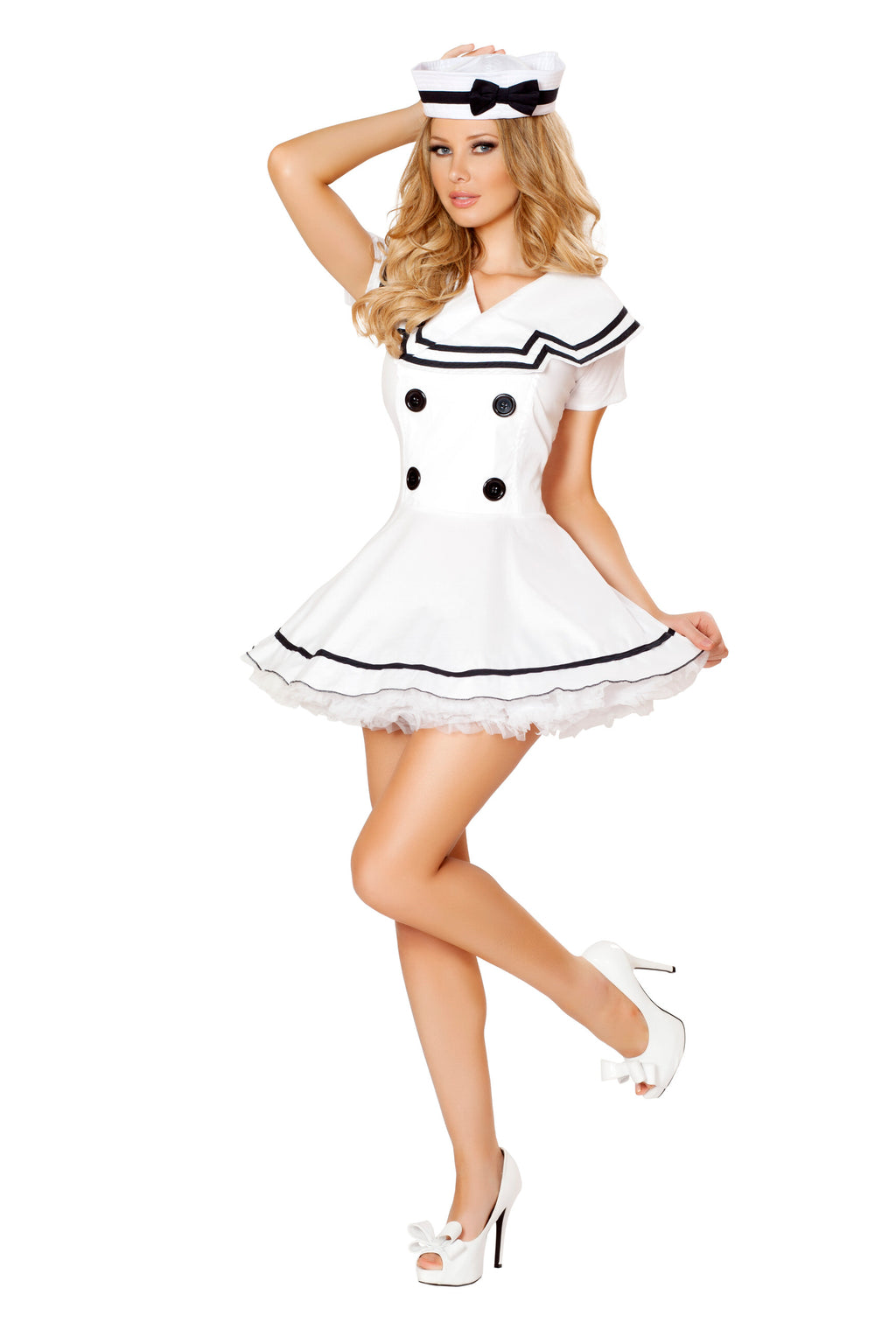 2-Piece-Sailor-Captain-White-Mini-Dress-&-Hat-Party-Costume