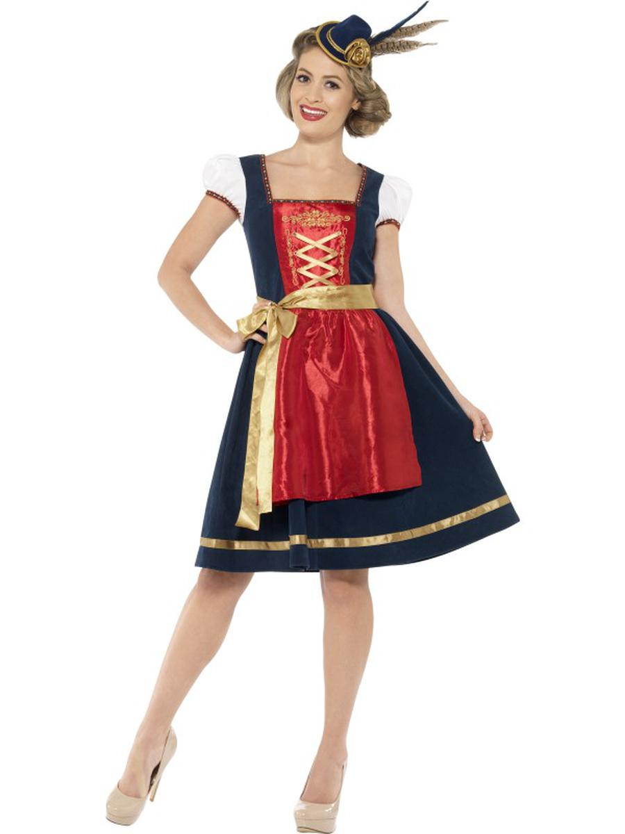 2-PC-German-Oktoberfest-Authentic-Red-Blue-&-Gold-Dress-w/-Apron-Party-Costume-