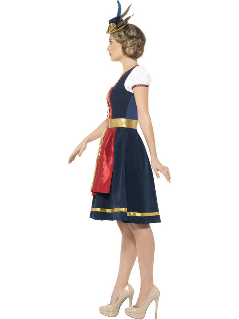 2 PC German Oktoberfest Authentic Red Blue & Gold Dress w/ Apron Party Costume - Fest Threads
