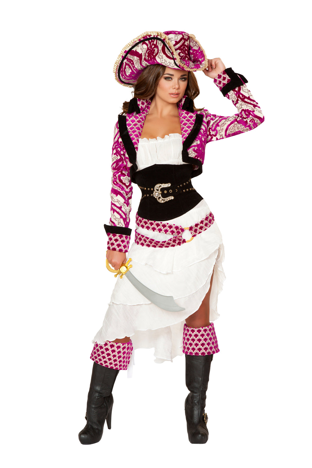 5-Piece-Pirate-Jacket-Midi-Dress-Cincher-w/-Accessories-Party-Costume