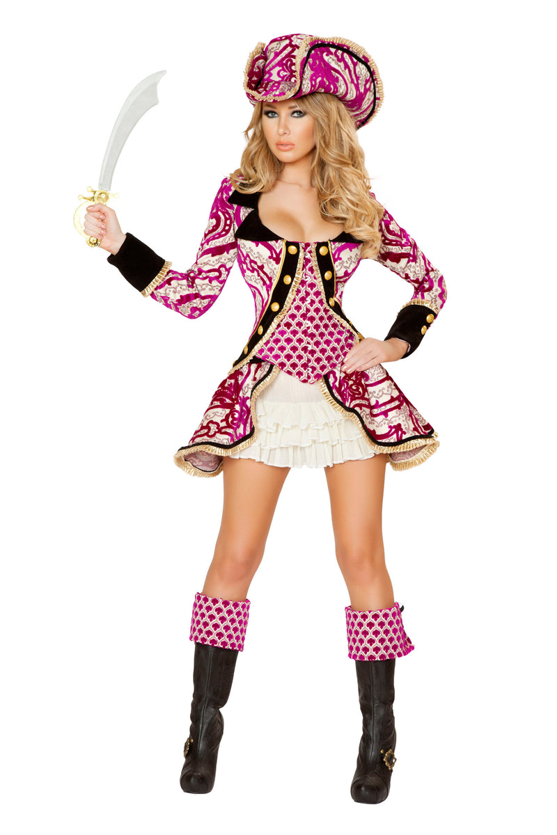 4-Piece-Pirate-Jacket-Mini-Dress-Cincher-w/-Accessories-Party-Costume