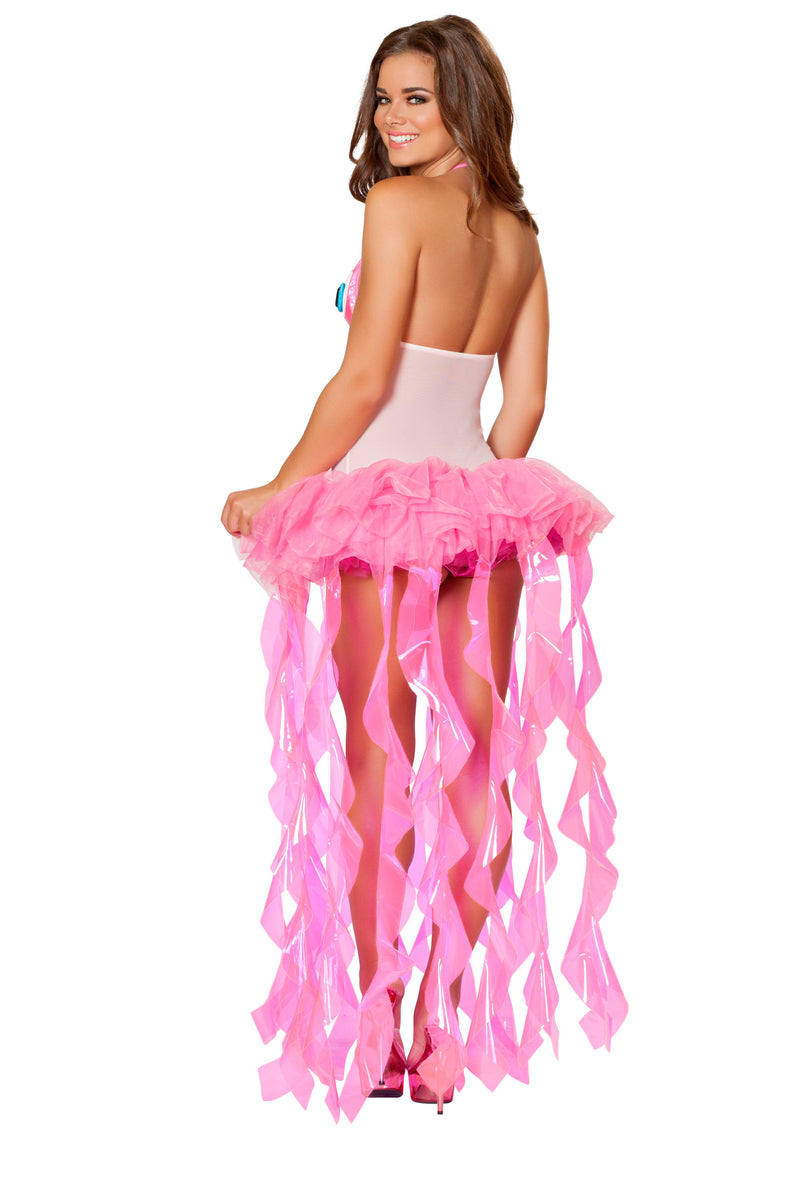 2 Piece Sexy Jellyfish Seacreature Bodysuit w/ Tutu Tentacle Skirt Costume - Fest Threads