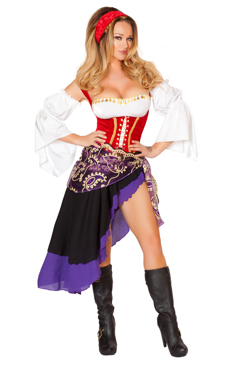 6-Piece-Sexy-Fortune-Teller-Gypsy-Waist-Top-&-Skirt-Costume