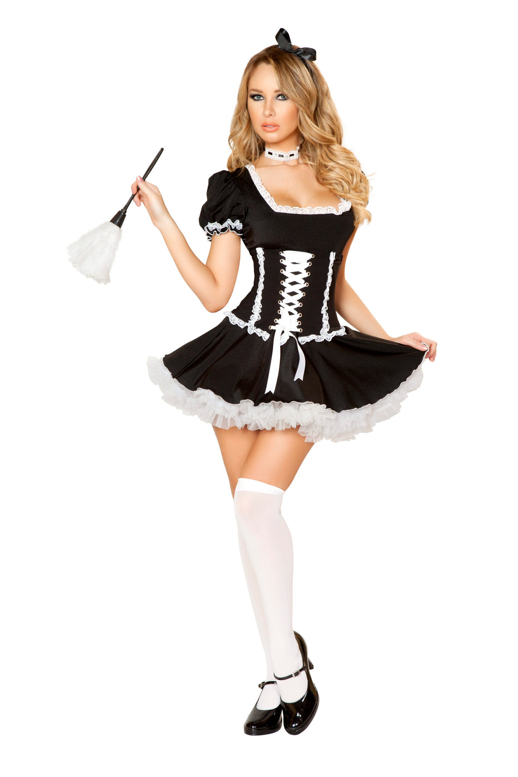 4-Piece-Naughty-French-Maid-Cincher-Dress-w/-Accessories-Party-Costume