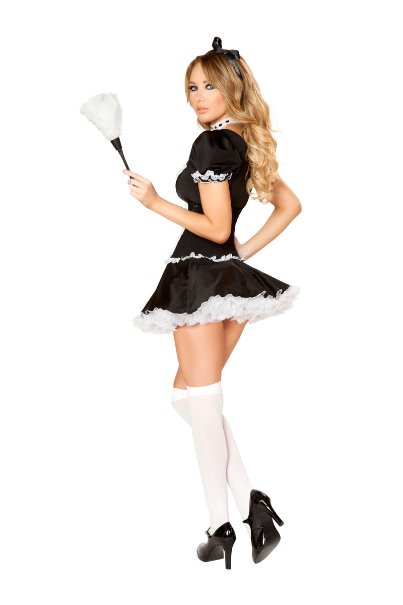 4 Piece Naughty French Maid Cincher Dress w/ Accessories Party Costume - Fest Threads