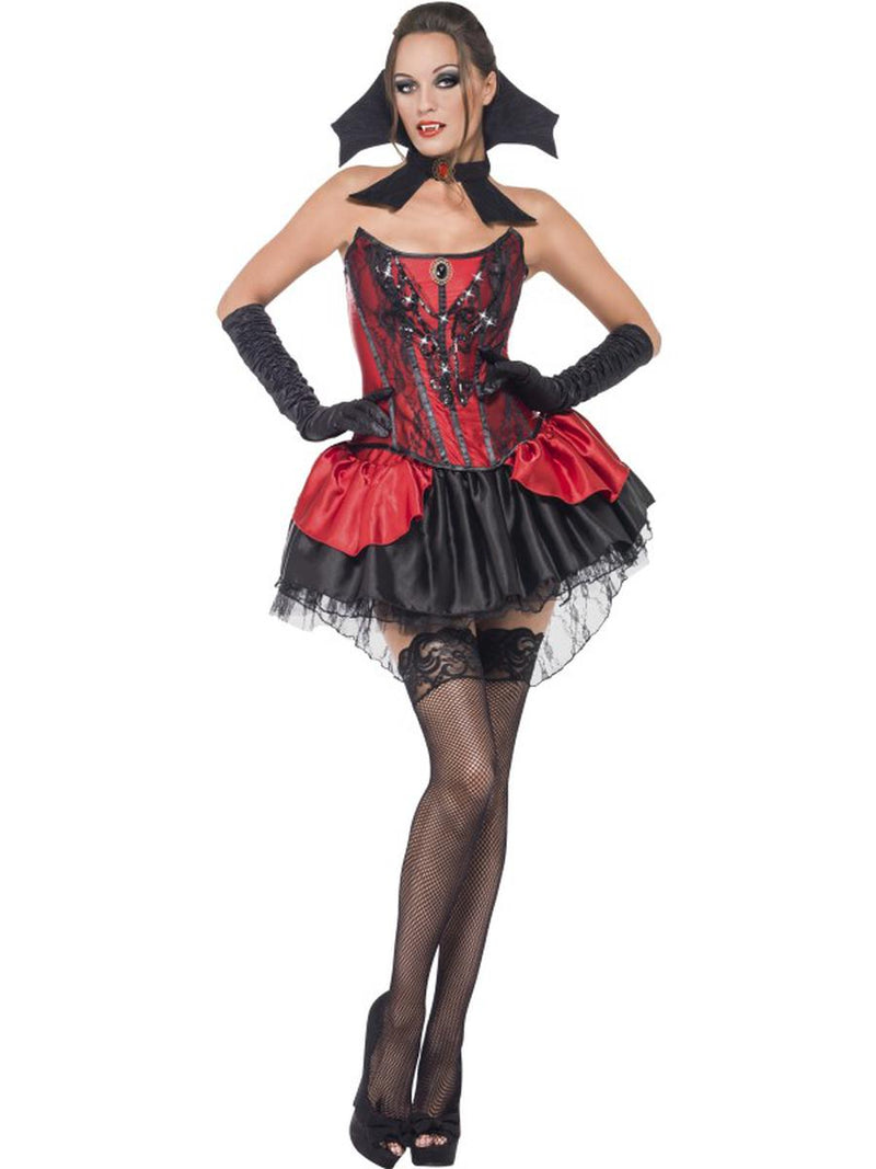 3 PC Vampire Woman Red & Black Corset Top & Skirt w/ Collar Party Costume - Fest Threads