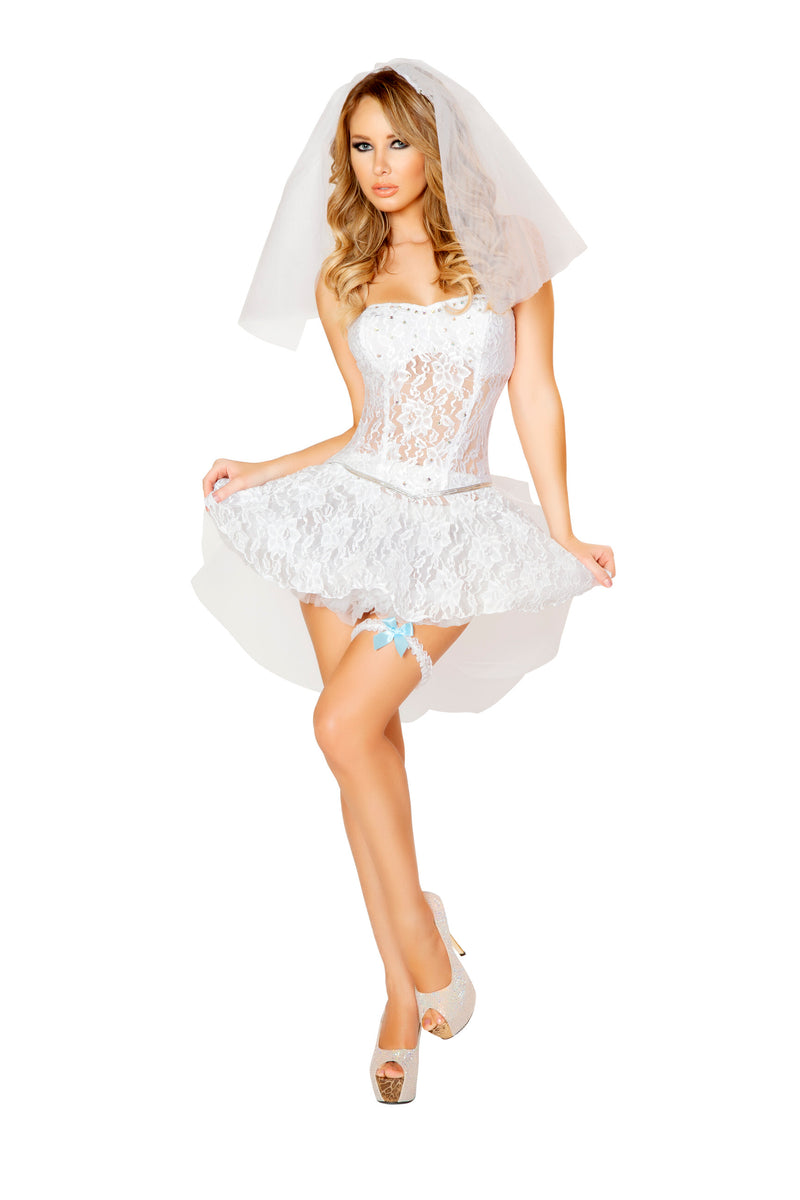4-Piece-Newlywed-Corset-Top-&-Skirt-w/-Accessories-Party-Costume