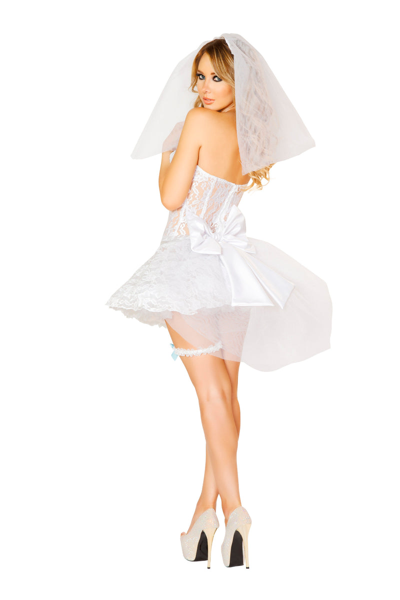 4 Piece Newlywed Corset Top & Skirt w/ Accessories Party Costume