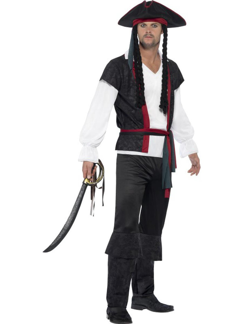 6-PC-Caribbean-Pirate-Fighter-Captain-Top-&-Pants-w/-Accessories-Costume