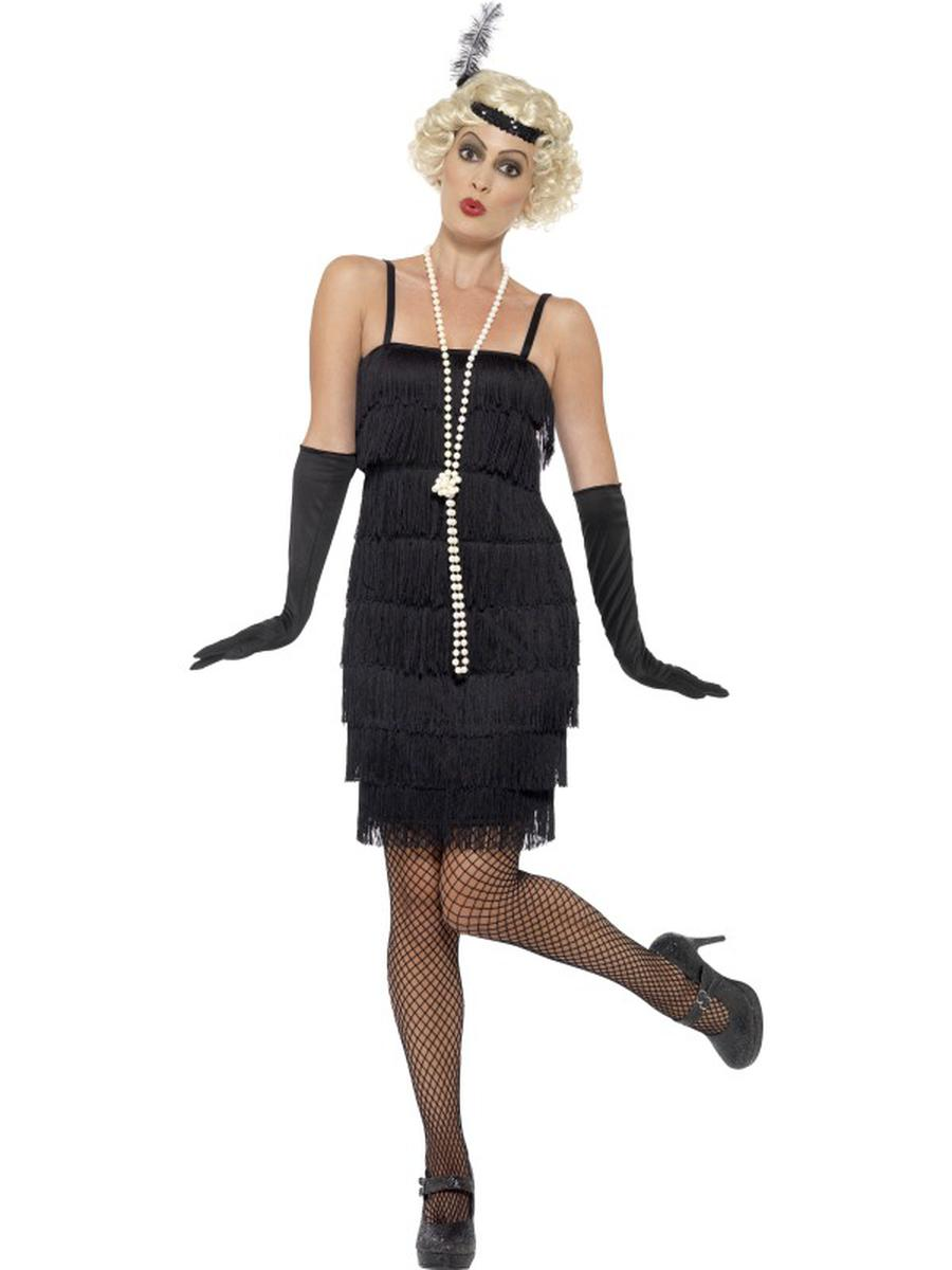 3-PC-1920s-Flapper-Gatsby-Girl-Black-Fringe-Dress-&-Headband-w/-Gloves-Costume