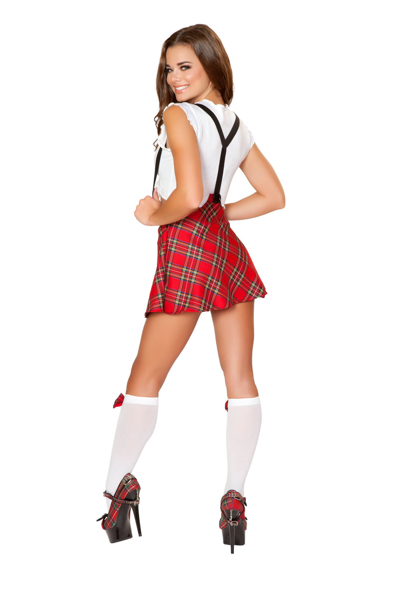 2 Piece School Girl White Tie Top & Red Plaid Skirt Party Costume