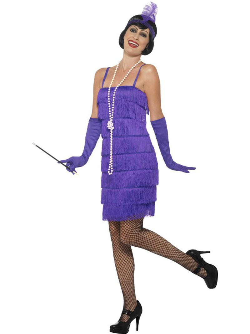 3-PC-1920s-Flapper-Gatsby-Girl-Purple-Fringe-Dress-&-Headband-w/-Gloves-Costume