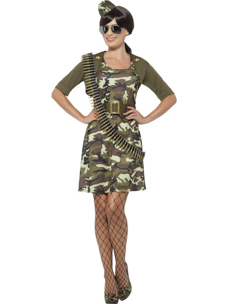 5-PC-Women's-Army-Military-Lady-Camouflage-Dress-w/-Accessories-Party-Costume