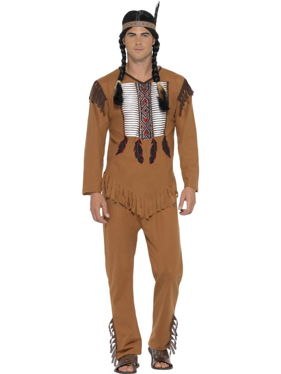3-PC-Men's-Native-American-Indian-Top-&-Pants-w/-Headband-Costume