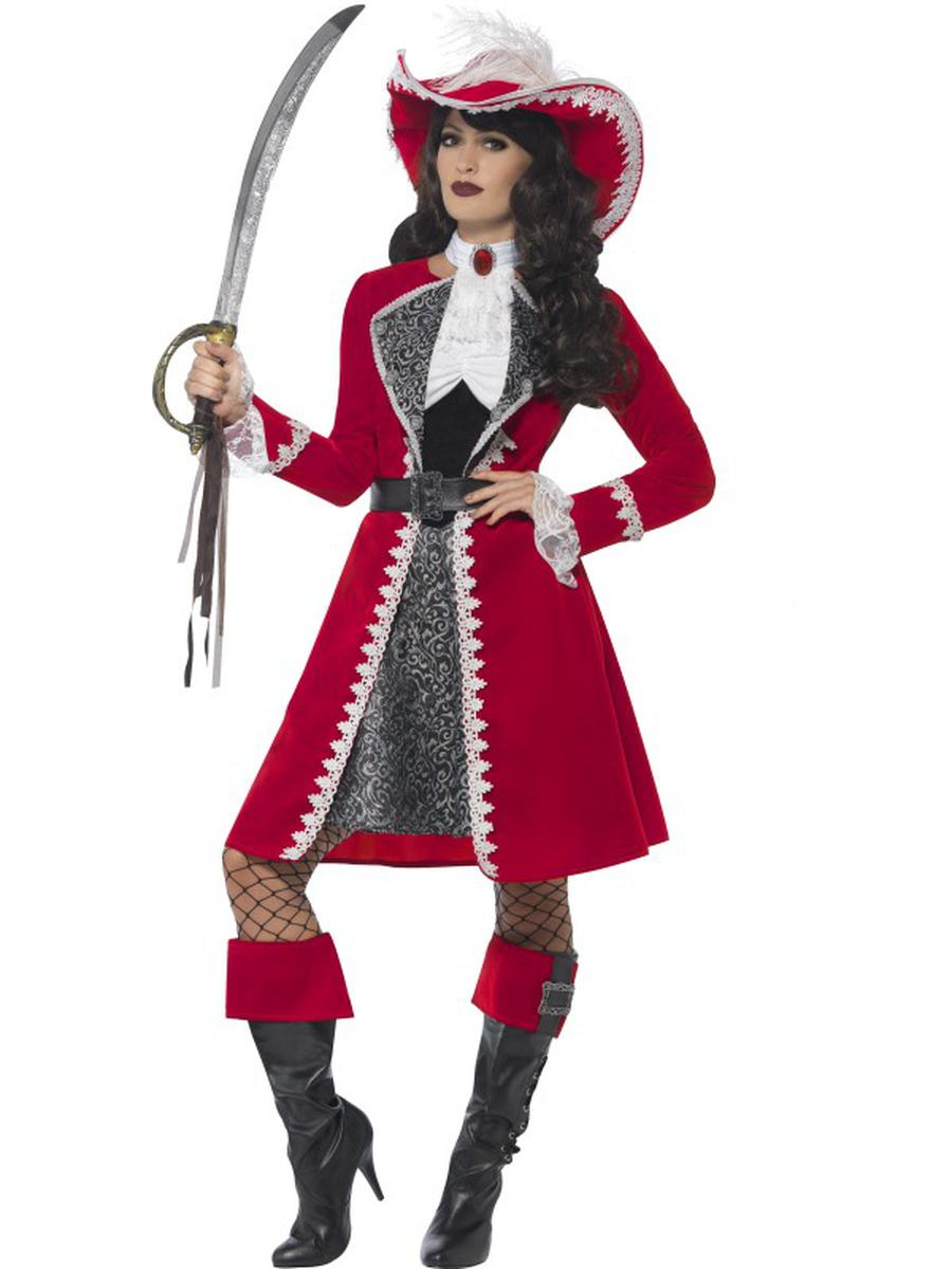 5-PC-Women's-Pirate-Lady-Captain-Dress-&-Jacket-w/-Accessories-Party-Costume