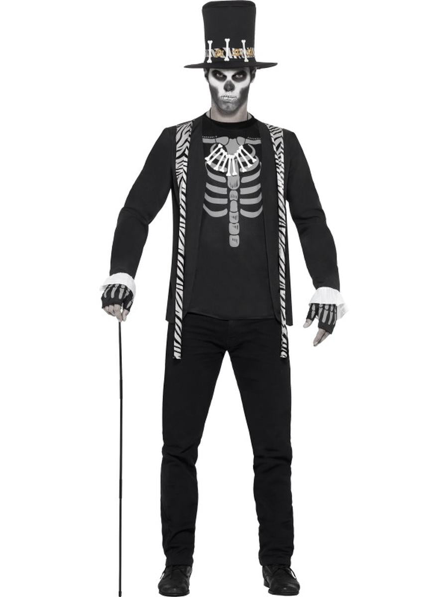 4-PC-Day-of-the-Dead-Skeleton-Witch-Doctor-Jacket-w/-Accessories-Party-Costume