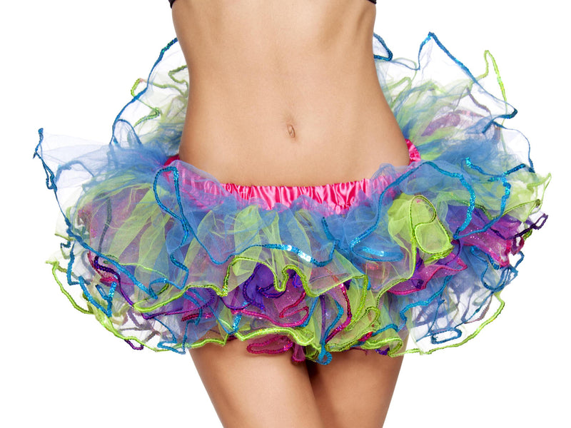 Adult-Women's-Rainbow-Sequin-Tutu-Halloween-Party-Costume-Accessory
