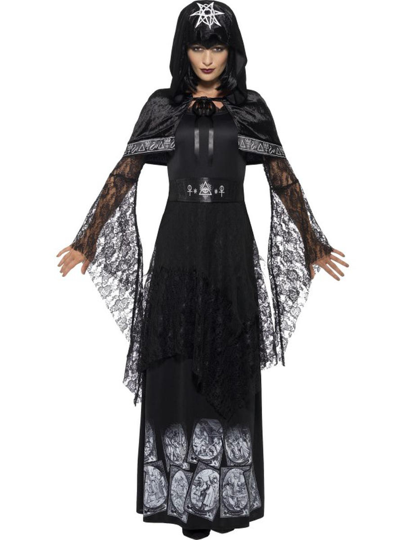 3-PC-Women's-Black-Magic-Witch-Lady-Maxi-Dress-w/-Accessories-Party-Costume