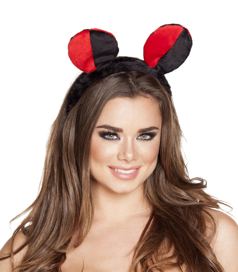 Adult-Women's-Lady-Bug-Red/Black-Ears-Headband-Halloween-Party-Costume-Accessory