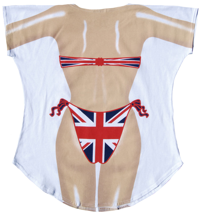 Women's Junior's United Kingdom Flag Pride Summer Beach Party Shirt Swimwear - Fest Threads