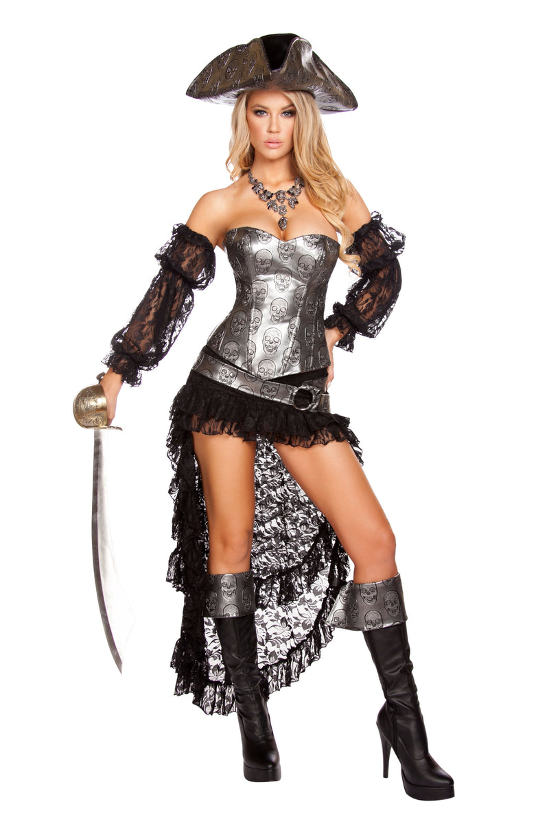 4-Piece-Pirate-Silver-Corset-Top-&-Mini-Skirt-w/-Accessories-Party-Costume