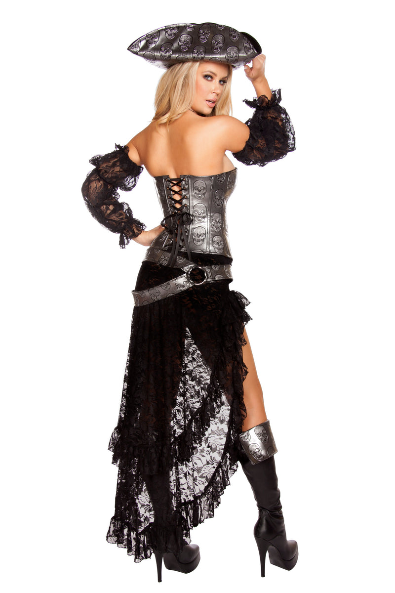 4 Piece Pirate Silver Corset Top & Mini Skirt w/ Accessories Party Costume - Fest Threads