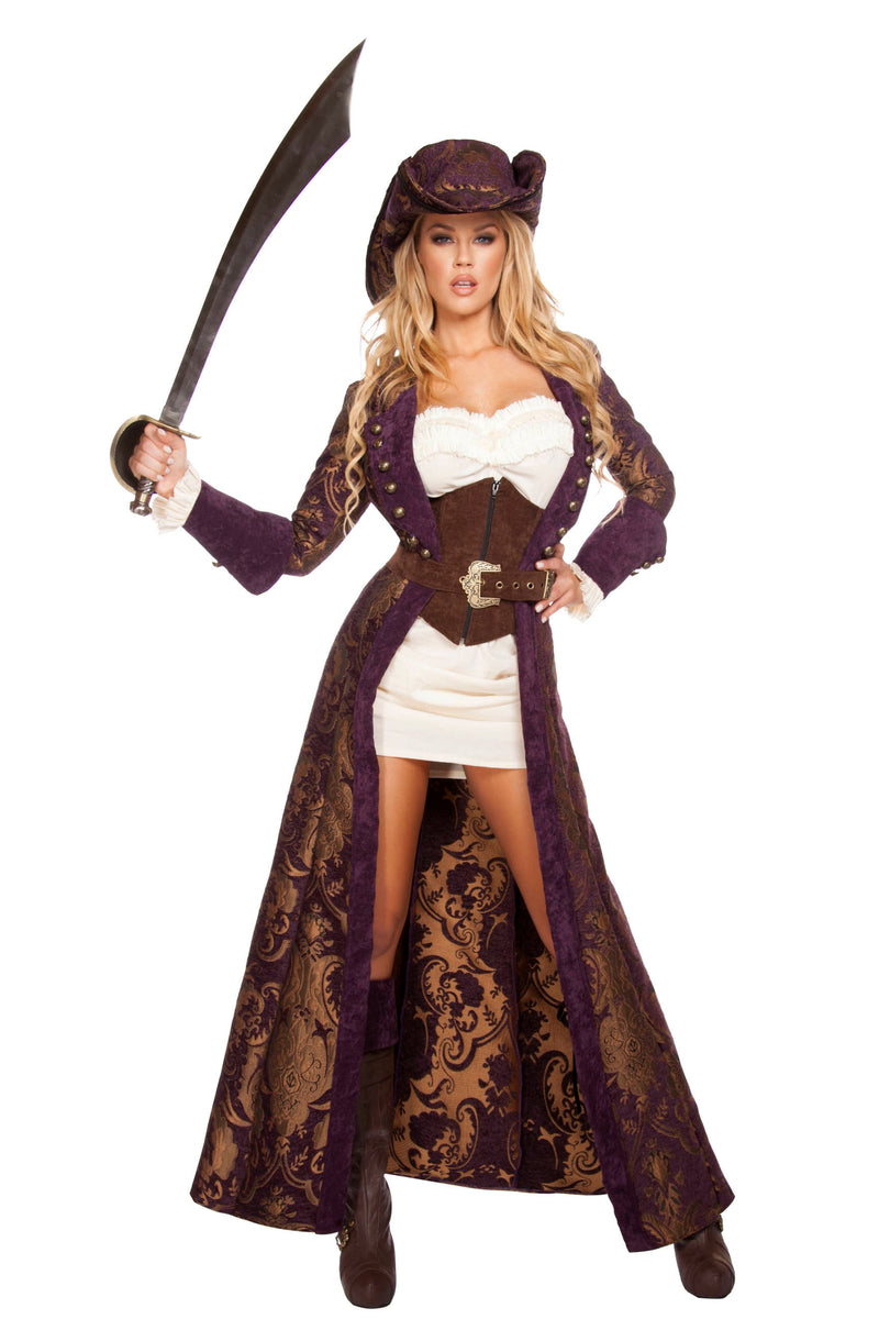 6-Piece-Pirate-Jacket-Dress-Cincher-w/-Accessories-Party-Costume