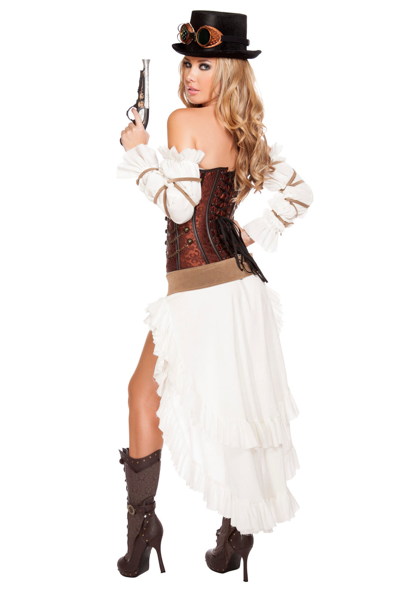 7 Piece Sexy Steampunk Sci Fi Babe Corset Top w/ High Low Skirt Costume - Fest Threads