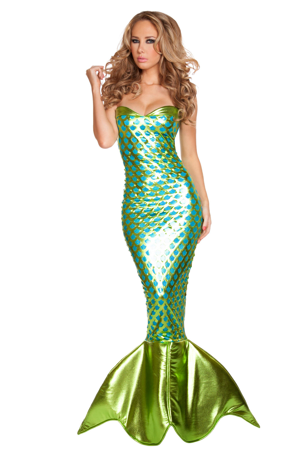 1-Piece-Sexy-Mermaid-Sea-Siren-Lace-Up-Tube-Green-Dress-w/Tail-Costume