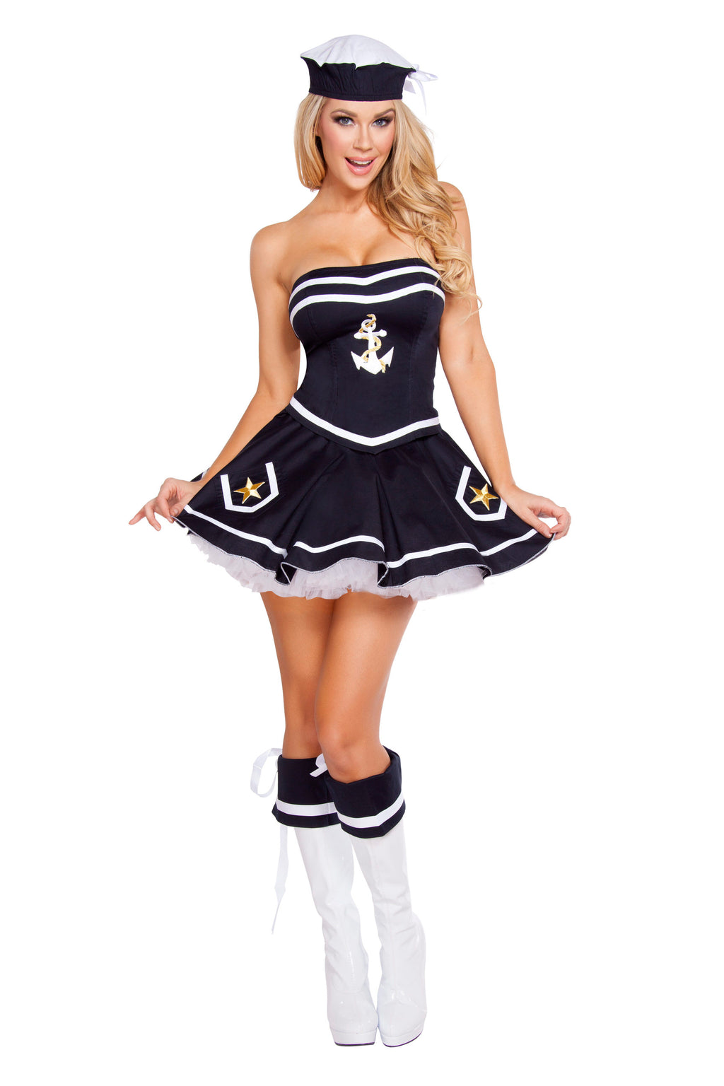 2-Piece-Sailor-Captain-Navy-Mini-Dress-&-Hat-Party-Costume