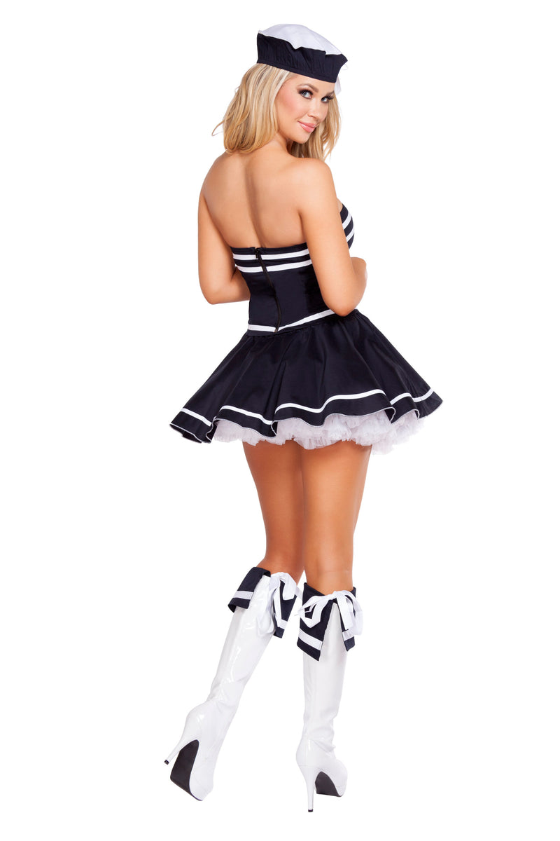 2 Piece Sailor Captain Navy Mini Dress & Hat Party Costume
