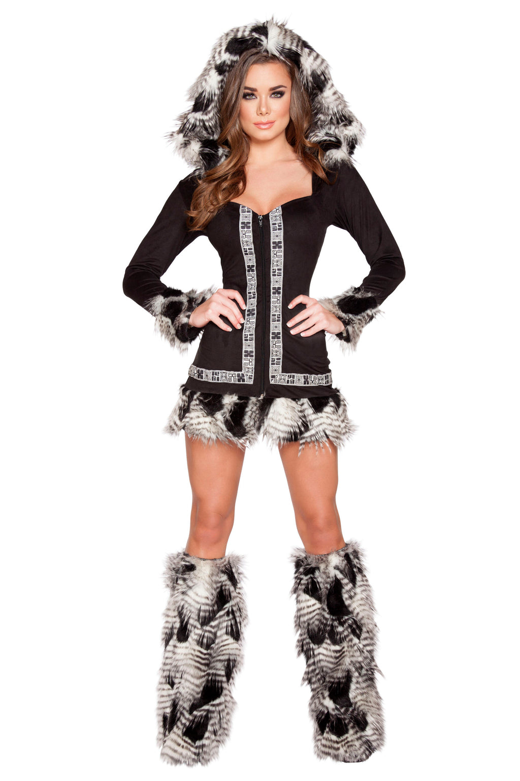 1-Piece-Indian-Princess-Eskimo-Fur-Brown-Dress-With-Hood-Costume