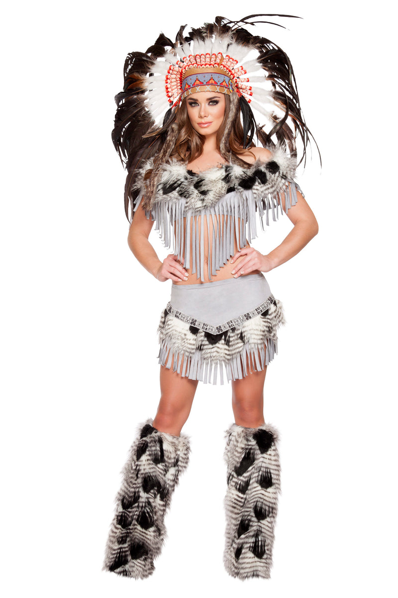 3-Piece-Indian-Princess-Fringe-Fur-Gray-Crop-Top-&-Skirt-Costume