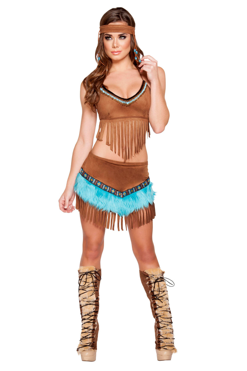 3-Piece-Indian-Princess-Fringe-Bead-Tan-Crop-Top-&-Skirt-Costume