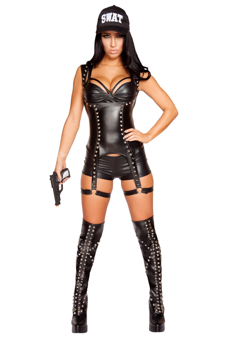 3-Piece-Sexy-SWAT-Officer-Crop-Top-Cincher-&-Shorts-Party-Costume
