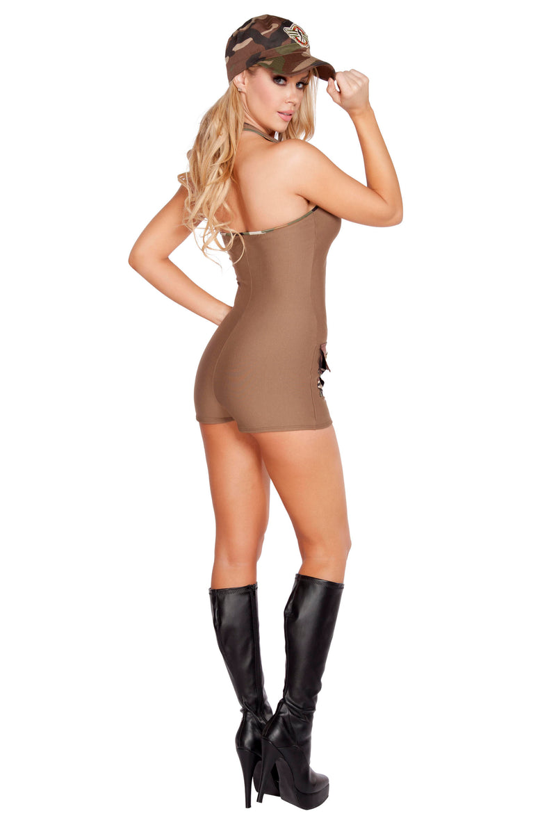 2 Piece Army Babe Tan Romper & Hat Party Costume - Fest Threads