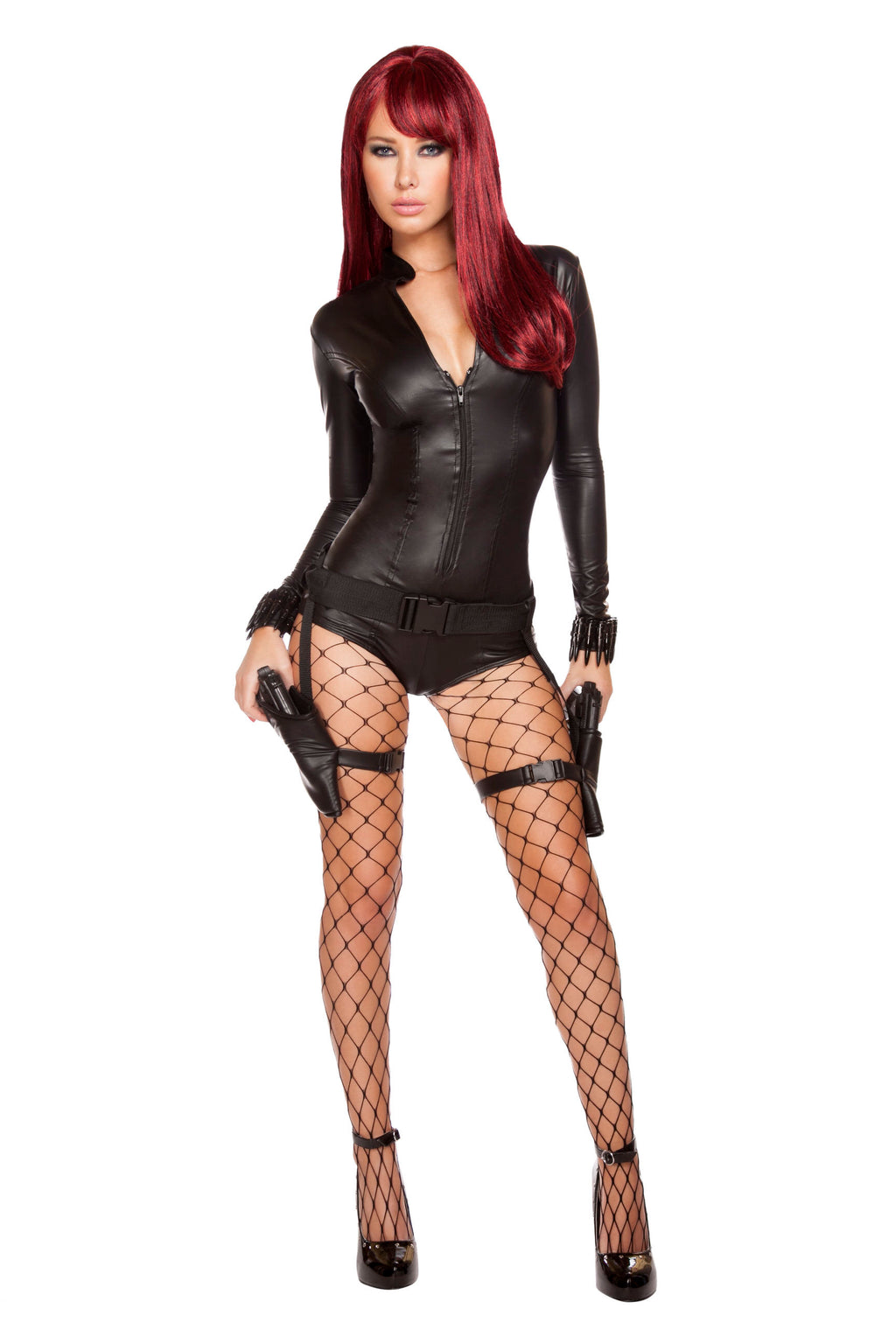 2-Piece-Sexy-Assassin-Ninja-Hit-Woman-Zipper-Romper-Costume