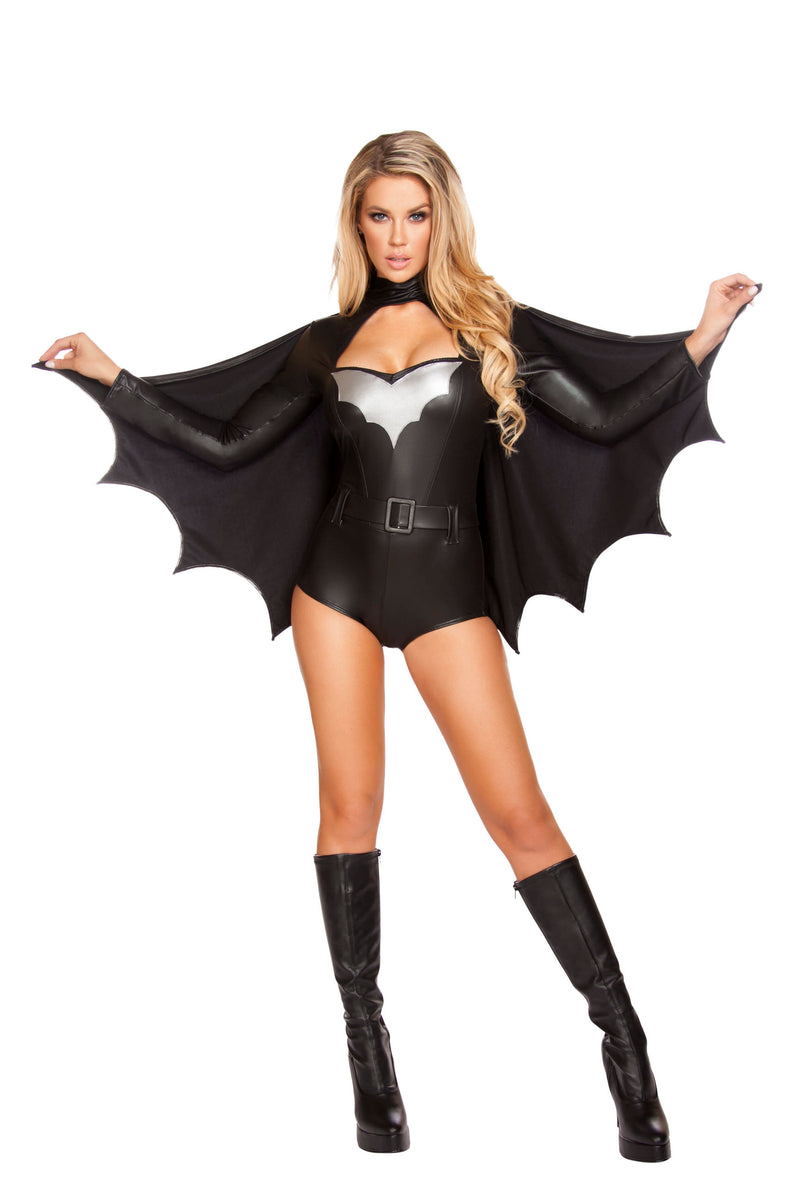 3-Piece-Miss-Batman-Bat-Girl-Superhero-Woman-Black-Romper-With-Cape-Costume