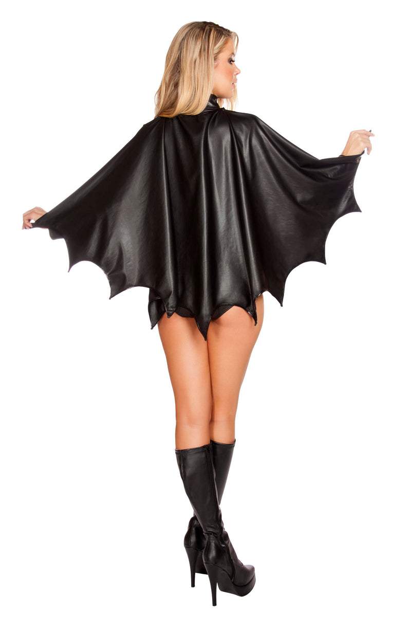 3 Piece Miss Batman Bat Girl Superhero Woman Black Romper With Cape Costume - Fest Threads