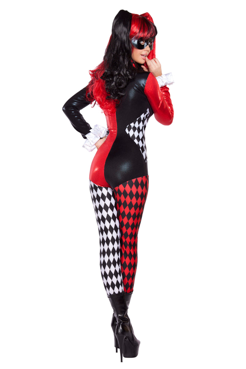 Adult Women's 2 Piece Sexy Court Jester Clown Jumpsuit Halloween Party Costume - Fest Threads
