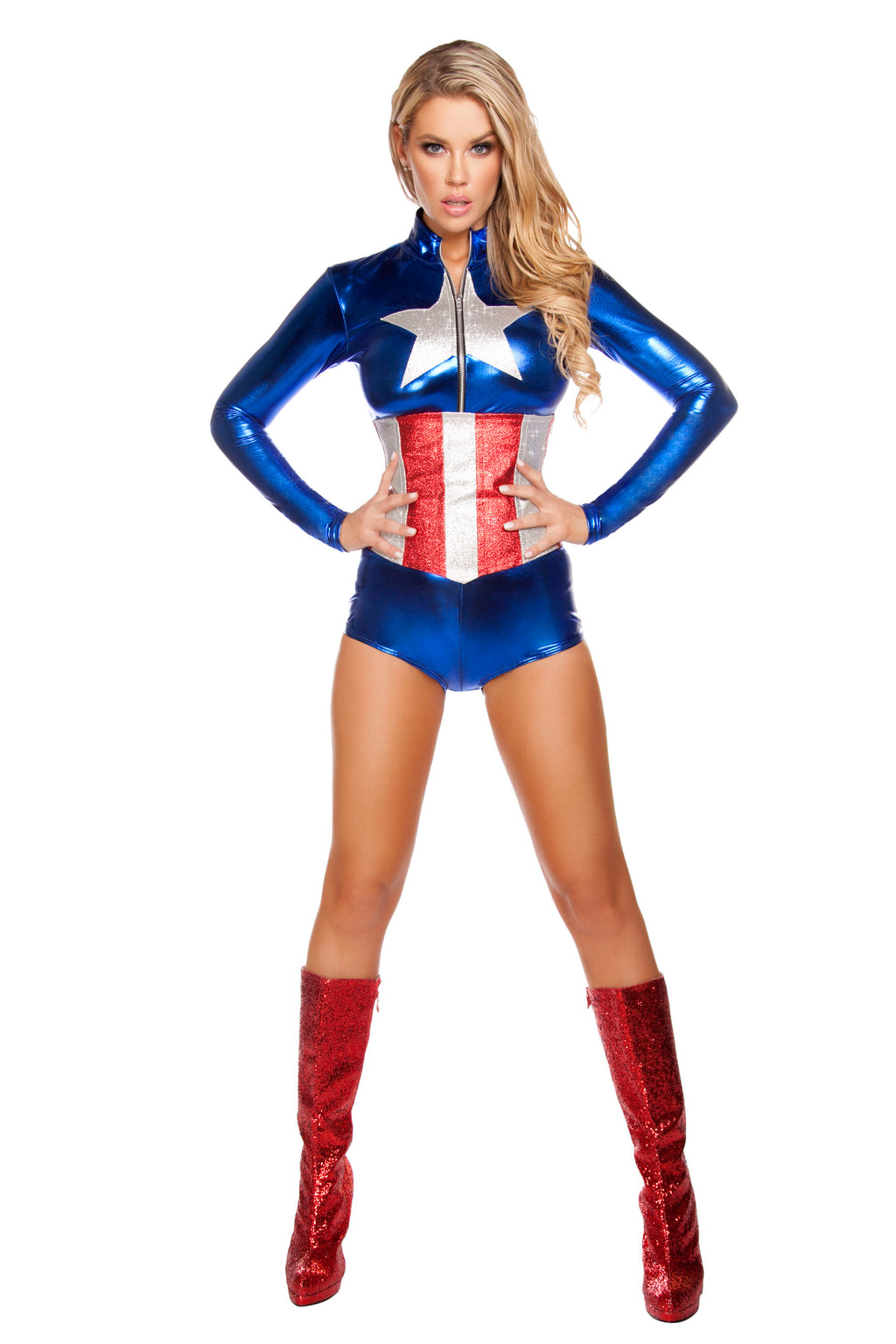 Adult-Women's-2-Piece-Sexy-Miss-Captain-America-Romper-Halloween-Party-Costume