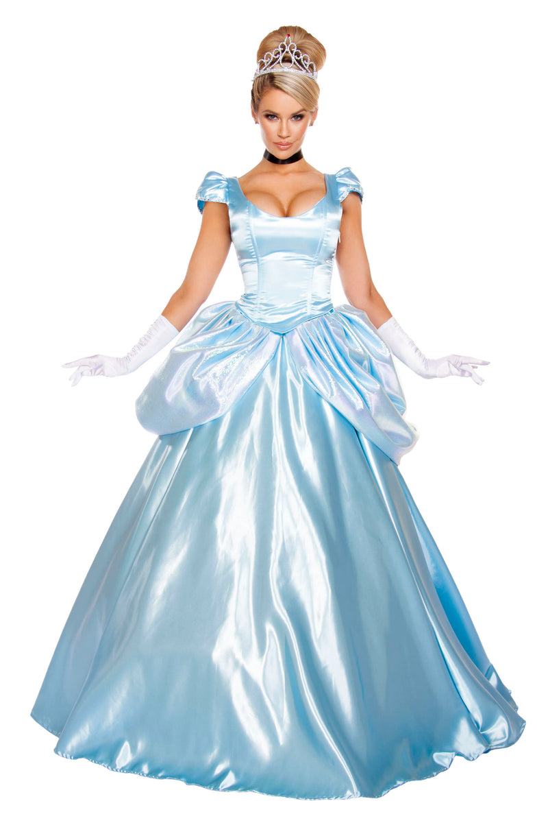 3-Piece-Princess-Cinderella-Ball-Gown-Top-&-Skirt-Dress-Costume