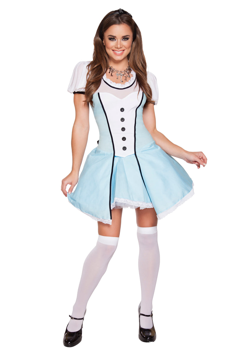2-Piece-Alice-in-Wonderland-Bow-Top-&-Flared-Underskirt-Costume