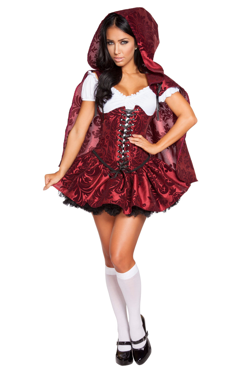4-Piece-Little-Red-Riding-Hood-Cincher-Top-&-Skirt-w/-Cape-Party-Costume