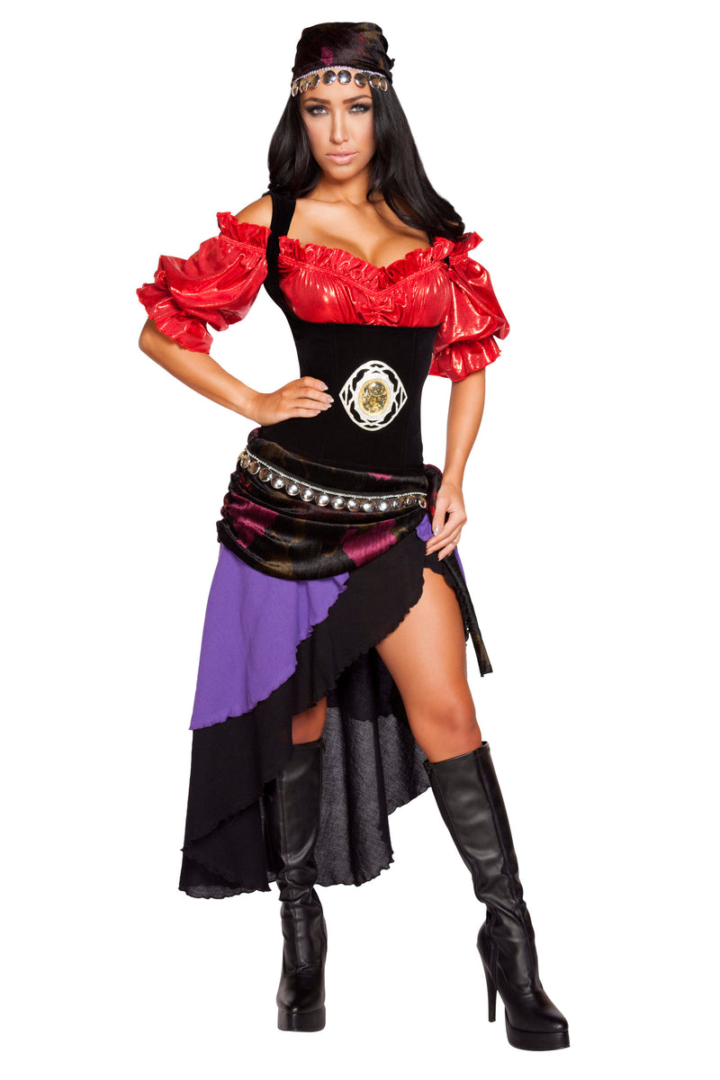 6-Piece-Sexy-Fortune-Teller-Gypsy-Waist-Cincher-Top-&-Coin-Wrap-Skirt-Costume