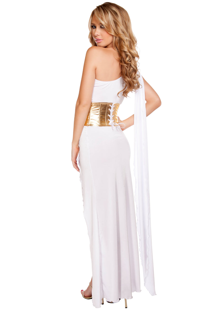 2 Piece Greek Goddess Aphrodite Athena Olympian White Gown Dress Costume - Fest Threads