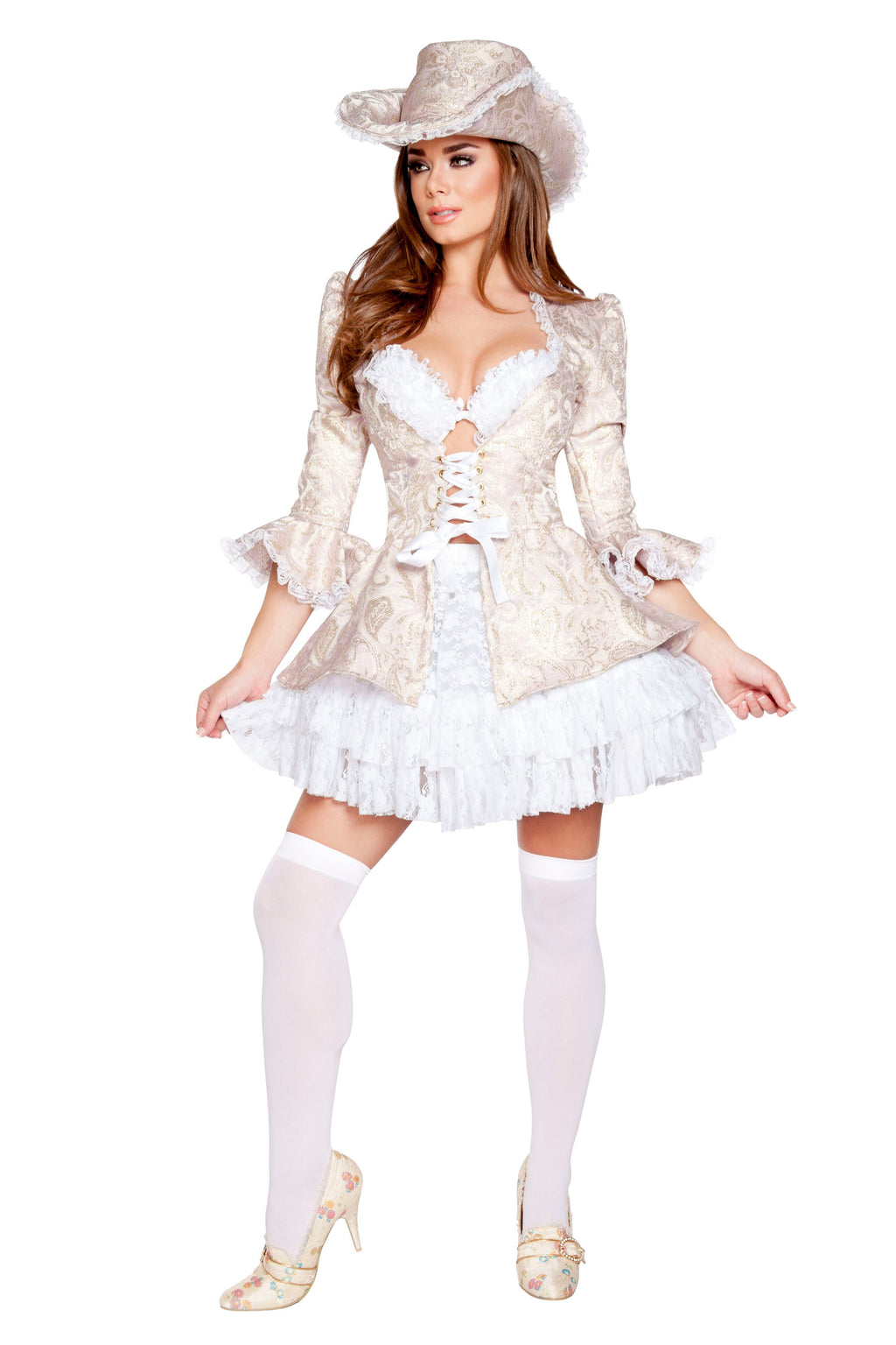 4-Piece-Sexy-Lady-Marie-Antoinette-Bra-Top-w/-Jacket-&-Skirt-Costume