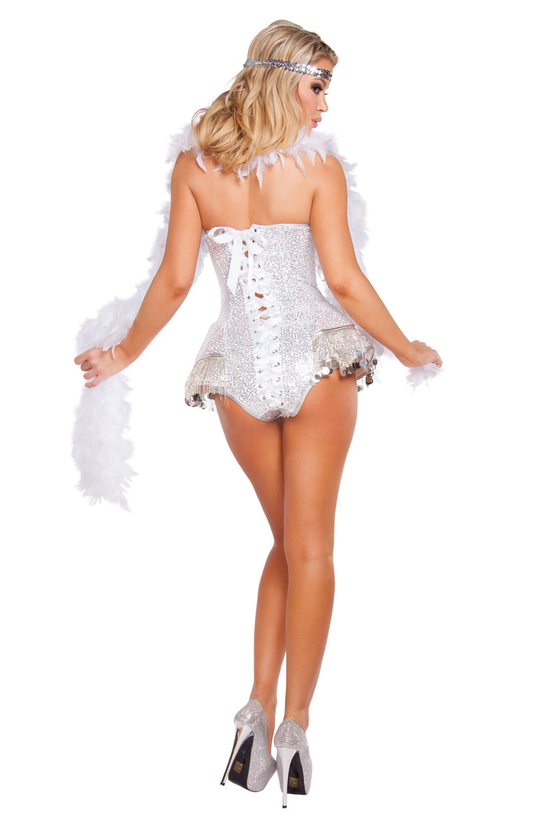 2 Piece Sequin Flapper Roaring 20s Cocktail White Romper Party Costume - Fest Threads