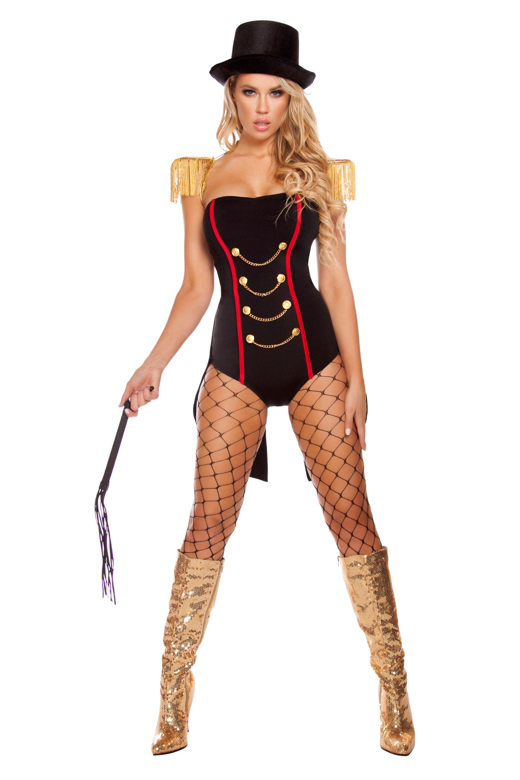 4-Piece-Circus-Ringleader-Lion-Tamer-Romper-w/-Accessories-Party-Costume