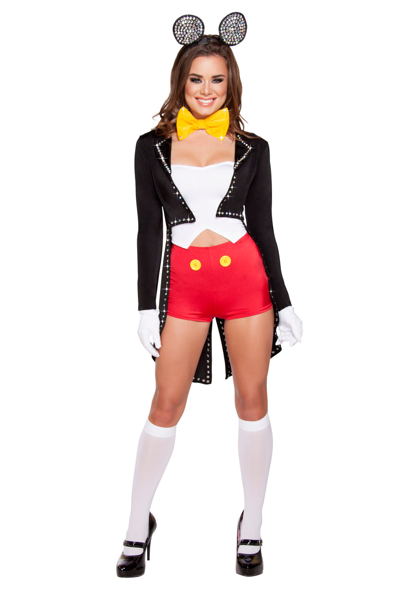 4-Piece-Miss-Mouse-Rhinestone-Jacket-Top-&-Shorts-w/-Headband-Party-Costume